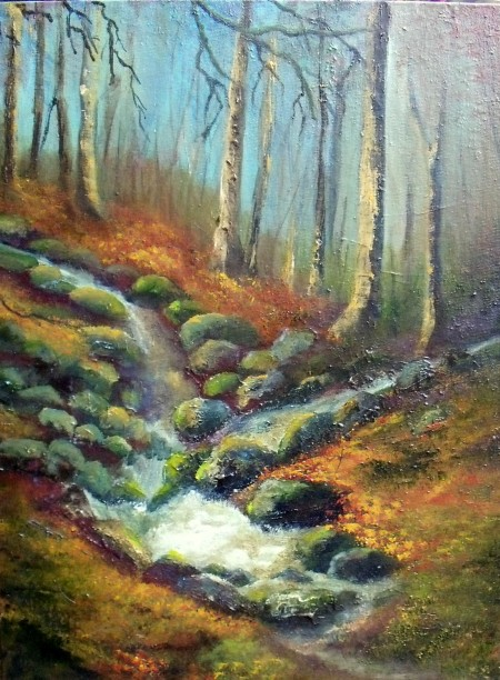 melting snow on moss coated rocks, Irish countryside, winter landscape oil painting
