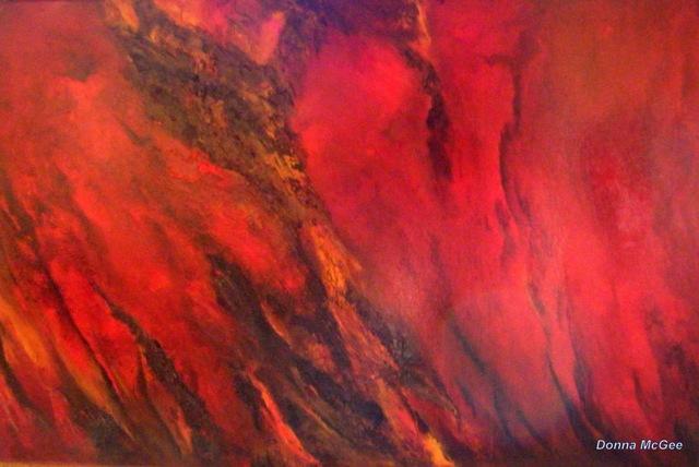 Collision, red abstract art, Haiti devastation,