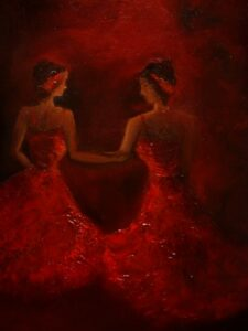 Irish Art - Let the performance begin - Ballet, dancing girls, ladies in red, dancing performance, dancing on stage