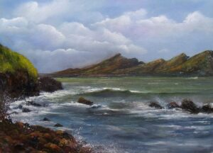 Irish Art - my-plein-air-dingle-trip - Peaked mountain range oftentimes referred to as the Three Sisters, with sea crashing against the rocks, Dingle peninsula, Atlantic coast