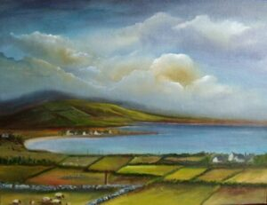 Irish Art - my-plein-air-dingle-trip -Atlantic coastline, view of Dingle peninsula, many shades of green, sheep grazing