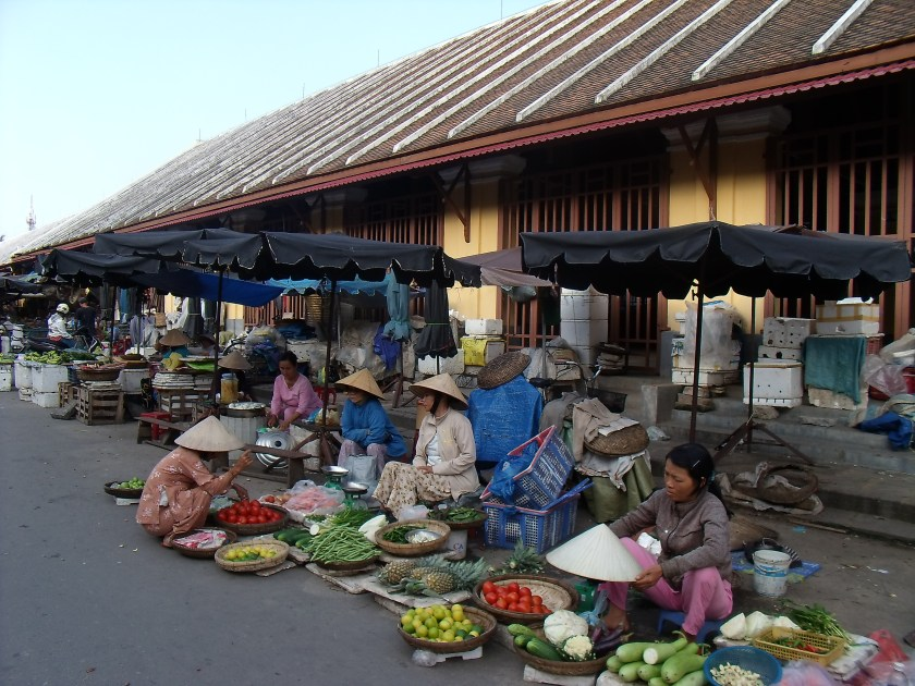 Street traders in Phnom Penh at the fruit market