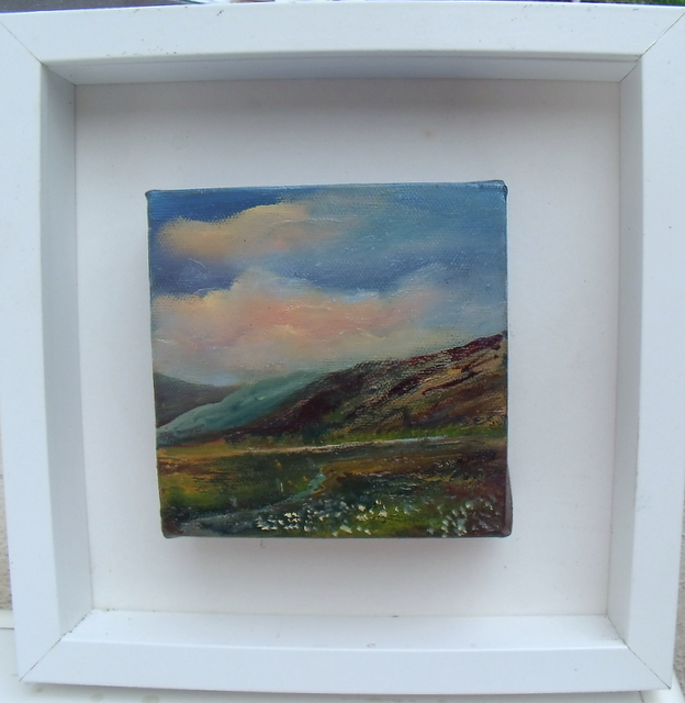 "Miniature Irish Landscape 5x5"" oil on block canvas"