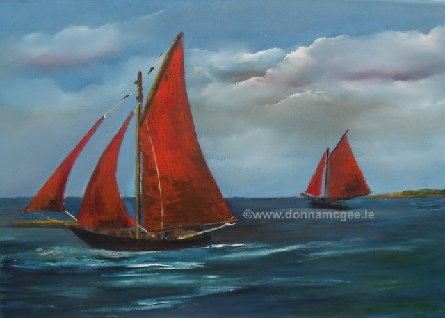 Galway Hookers 2 Oil on canvas 14x10""