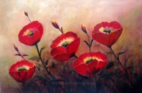 "Archives - select past works, Poppy Profusion 20 x 30"" Oil on canvas"