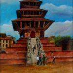 Nyatapola Temple, Bhaktapur, Nepal 10 x 20″ Mixed Media - Nepal emergency Appeal