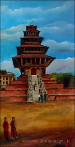 Nyatapola Temple, Bhaktapur, Nepal 10 x 20″ Mixed Media