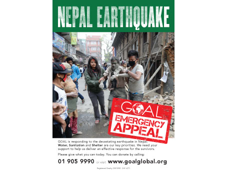 GOAL poster for Nepal Earthquake appeal