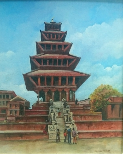 Nyatapola Temple, Bhaktapur, Nepal Oil Painting - Art + Travel Adventure Nepal