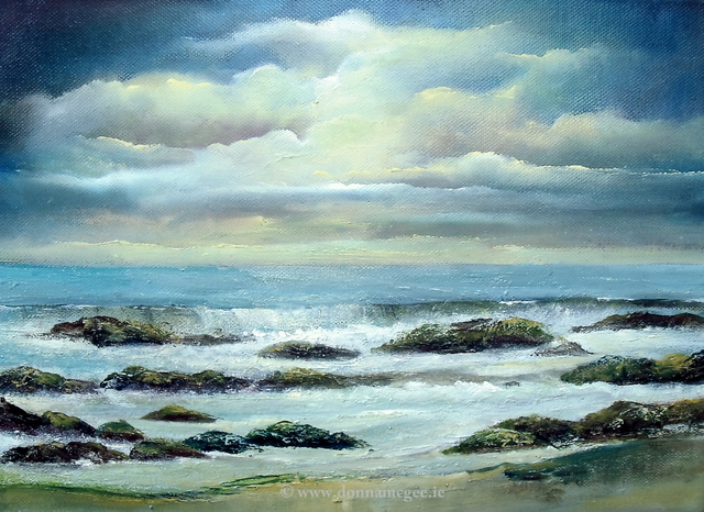 Rocky Shores Seascape on canvas 14 x 10""