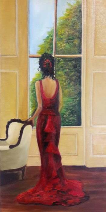 Lady in Red Oil Painting 30 x 60 cms