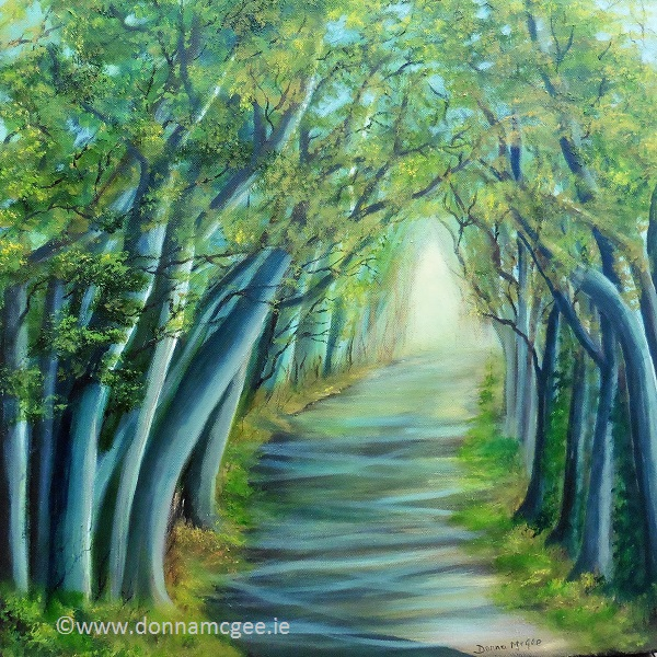Dark Hedges - 60 x 60 cms Oil on block canvas