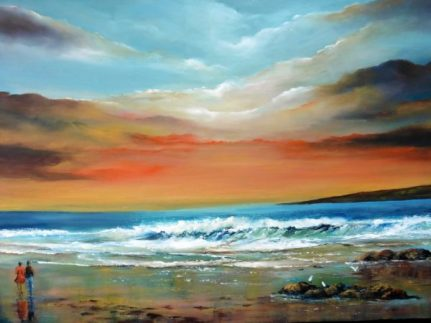 As the Sun Goes Down 20 x 16 inches - Oil on Canvas - Donna McGee