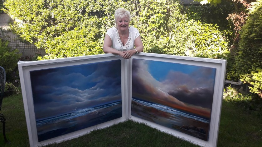 Two big paintings for exhibition at House just back from the framer!