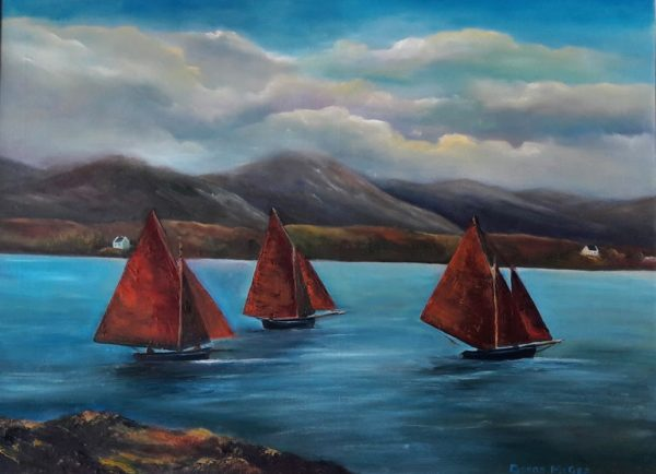 Galway Hookers at Roundstone 24x18 inches - Oil on Canvas