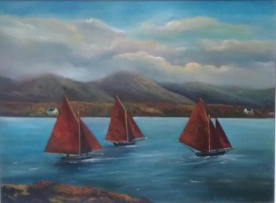 Galway Hookers at Roundstone 24x18 inches - Oil on Canvas - Connemara, Wild Atlantic Way, west coast of Ireland