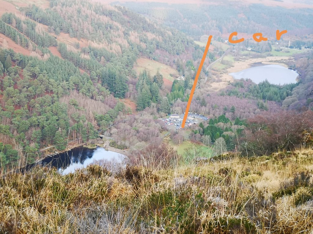 A glimpse of my car, so very far away in the car park at Glendalough
