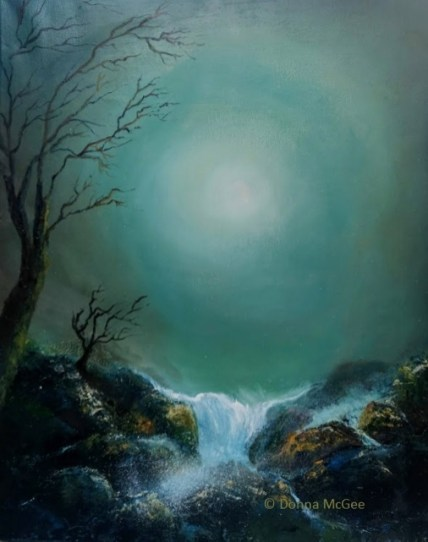 iRISH LANDSCAPSE ART Moonlight Glow 20 x 16 inches - Oil on Block Canvas