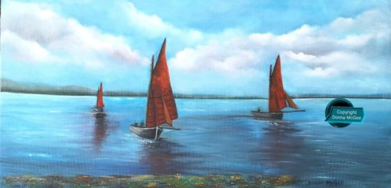 Galway Hookers set sail 40x80 cms - Oil on canvas - the wild atlantic way
