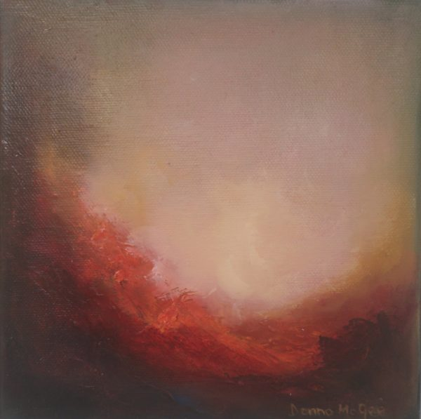 Dawn Awakes 8 x 8 inches Abstract OIl Painting Pink Colours descend on earth