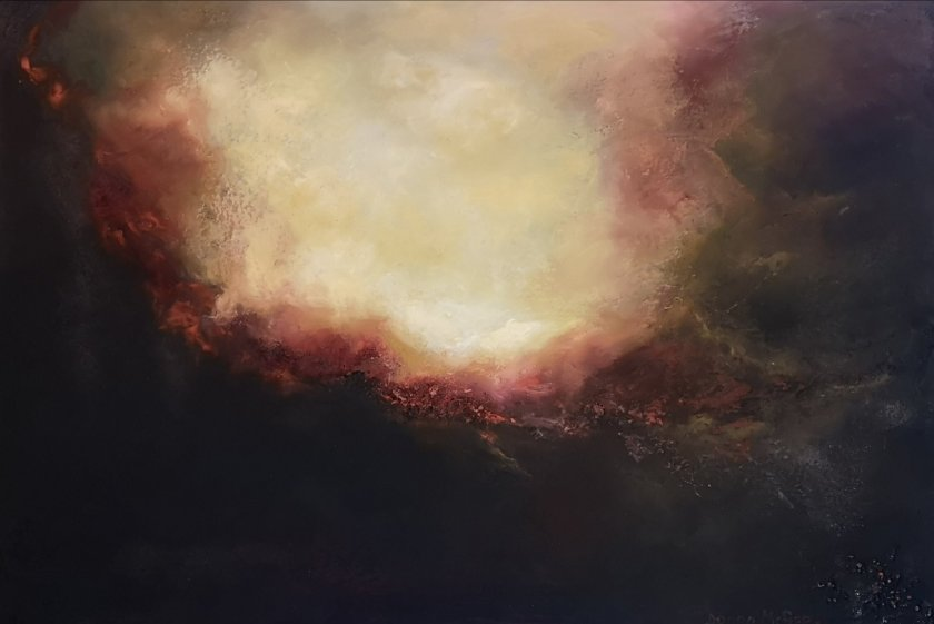 Glowing Light Abstract Oil painting 20x30 inches Donna McGee at Ideal Home Show