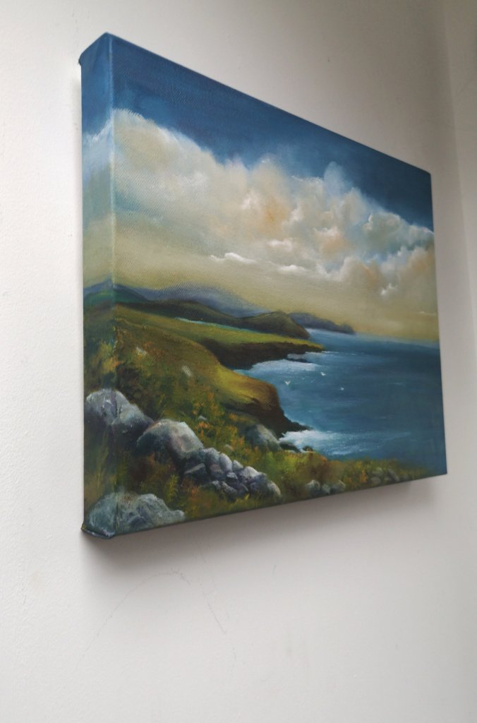 gulls landing oil painting - dingle peninsula - donna mcgee