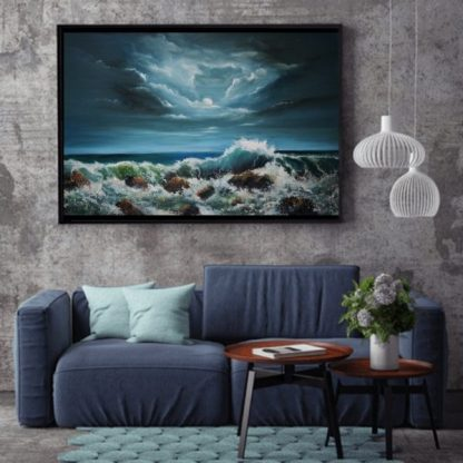 Tempest Oil Panting 20 x 30 inches on canvas - Wild Atlantic Way seascape - waves crashing against the rocks under a moonlit sky
