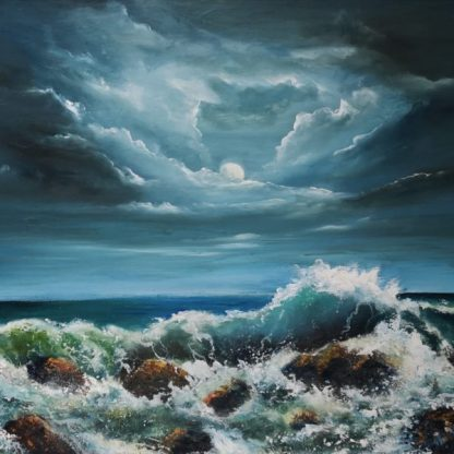 Tempest Oil Panting 20 x 30 inches on canvas - Wild Atlantic Way seascape under a moonlit sky