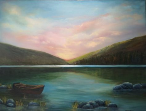 Upper Lake Glendalough in a room setting, restful scene with moored boat and mountains in background