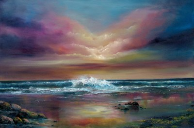 World at Peace, calm view of evening beach, rolling waves - Irish landscape art - blog post Happy and Safe Easter to all - Donna McGee 12Apr20