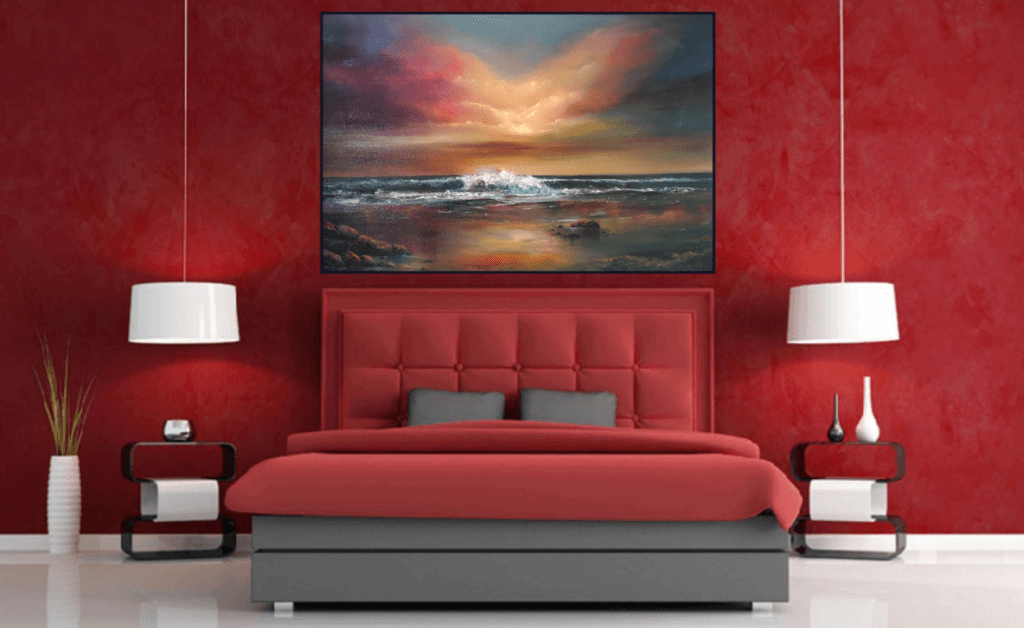 World at Peace - Oil painting of calm seascape in a room setting Blog Post Happy and Safe Easter to all 12Apr20