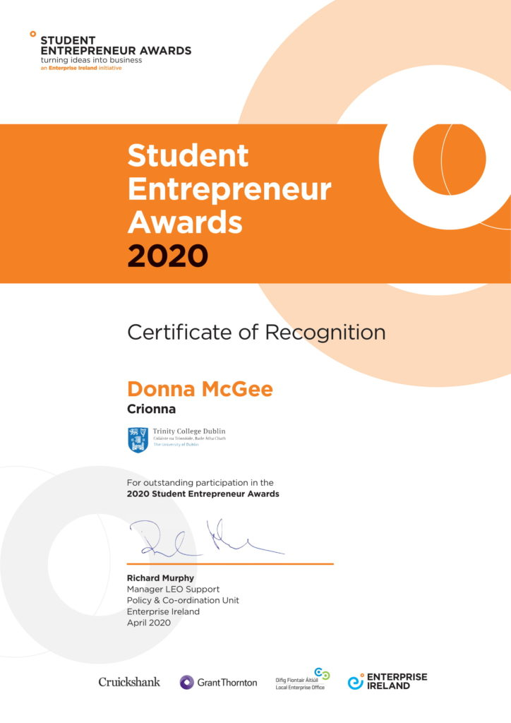 Student Entrepreneur Awards 2020 Cert of Recognition Donna McGee