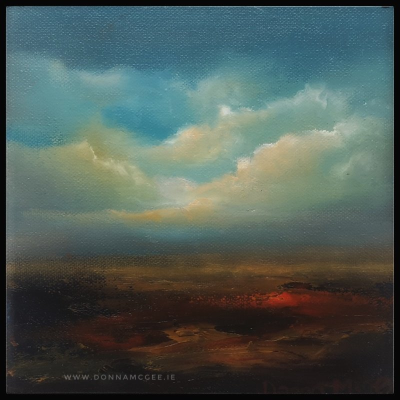 Transcendence Series 2 Abstract oil painting of an Irish landscape 8 x 8 inches