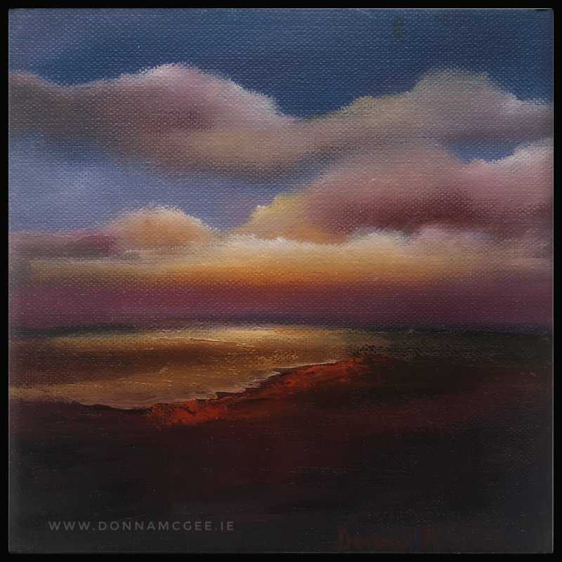 Transcendence Series 3 Abstract oil painting of an Irish landscape 8 x 8 inches