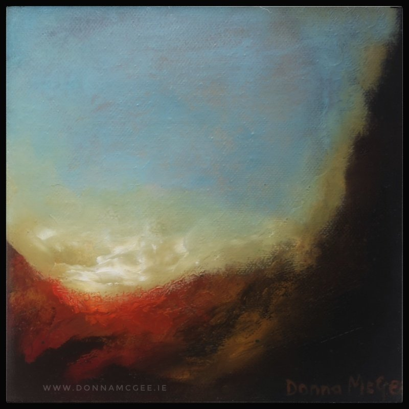 Transcendence Series 4 Abstract oil painting of an Irish landscape 8 x 8 inches
