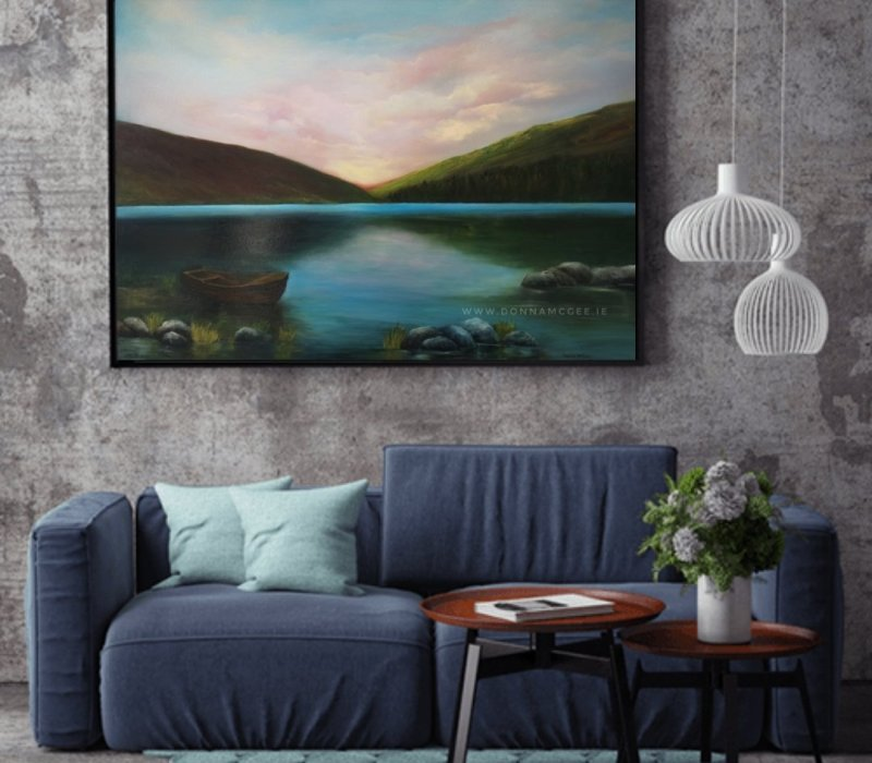 Upper Lake Glendalough 40 x 30 inches Oil on block canvas in room view