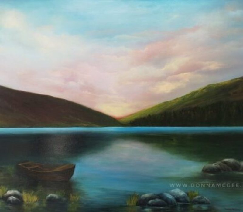 Upper Lake Glendalough Oil landscape painting 40 x 30 inches