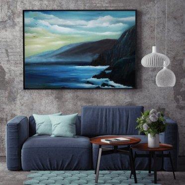 Coumeenole Beach Dingle Irish seascape oil painting in a room setting