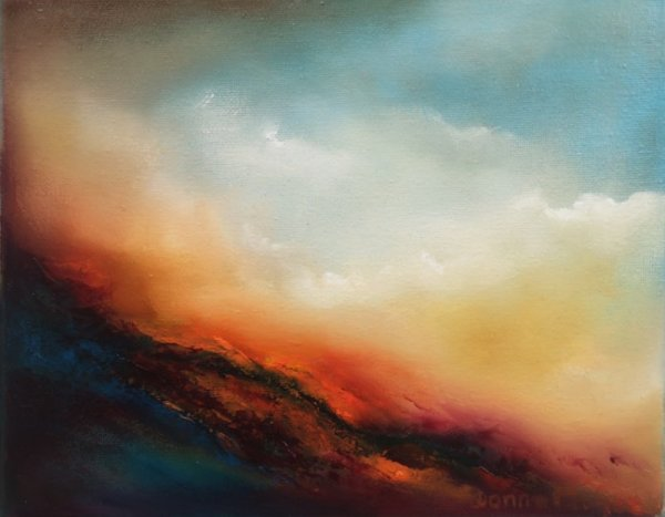 Scorching embers abstract oil painting