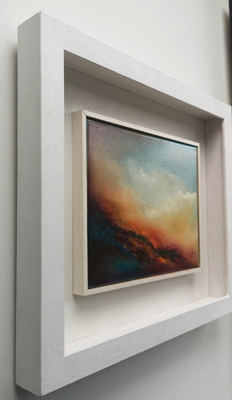 scorching embers abstract oil painting in bespoke white frame