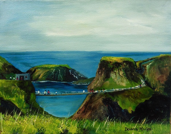Carrick-a-Rede-Rope-Bridge-Co.-Antrim-landscape painiting 10-x-8-inches-Oil-on-Canvas