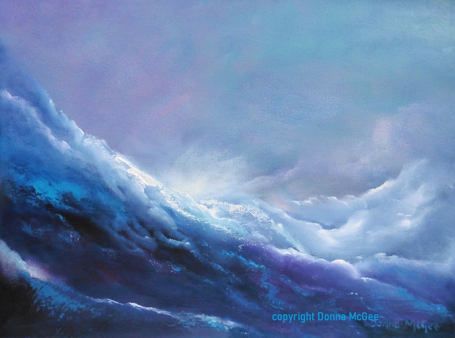 celestial rush 16x12 inches oil on canvas Enjoy the View from the luxury of your own home - Loose yourself while the waves soothingly swirl back and forth with the soft appealing hues of pink and mauve - Celestial Rush 16 x 12 inches Oil on Canvas