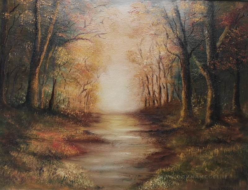 Golden Moments landscape oil painting of woodland in autumn colours