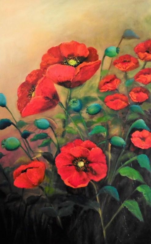 summer flowering red poppies oil painting