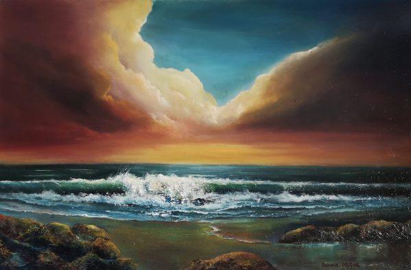 sea breeze - 20 x 30 inches oil on canvas - irish seascape art