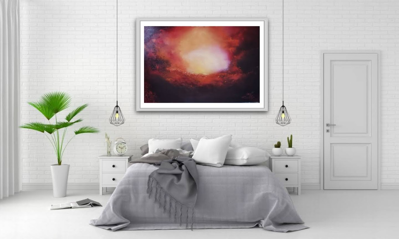 Glowing light abstract oil painting red in room setting