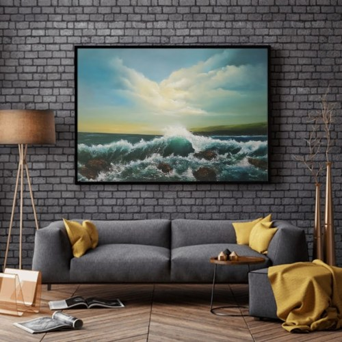 slea head drive oil painting in a room setting