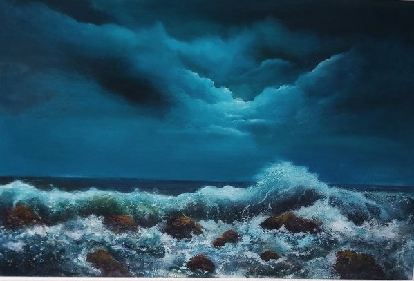 light of the moon oil painting 20 x 30 inches - as the moon hits the crest of the wave - irish art