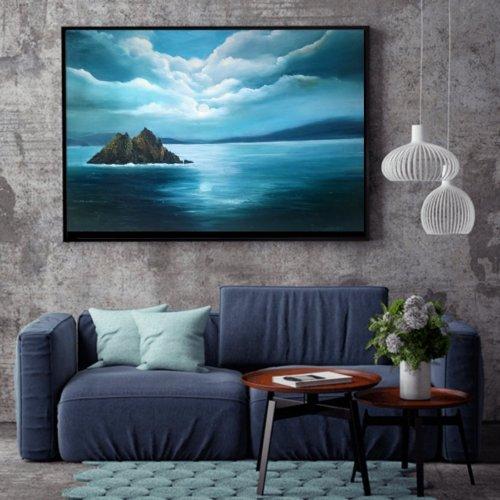 Skellig Michael Oil painting in room setting