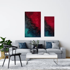 chimera abstract oil painting  diptych room view